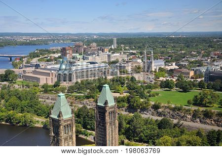 Aerial view of National Gallery of Canada and Notre Dame Cathedral viewed from Ottawa Parliament Peace Tower, Ottawa, Ontario, Canada.