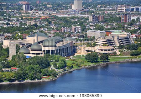 Aerial view of Canadian Museum of History in summer, viewed from Ottawa Parliament Peace Tower, Ottawa, Ontario, Canada.