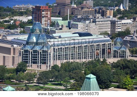 Aerial view of National Gallery of Canada viewed from Ottawa Parliament Peace Tower, Ottawa, Ontario, Canada.