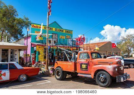 SELIGMAN AZ - SEPTEMBER 16: Old tow truck on Route 66 in Seligman AZ on September 16 2015