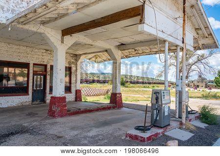 SELIGMAN AZ - SEPTEMBER 16: Abandoned gas station on Route 66 near Seligman AZ on September 16 2015