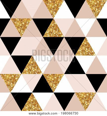 Abstract seamless geometric pattern. Vector illustration. Geometry gold, black and white triangles grid texture. Chic gold mosaic tiles