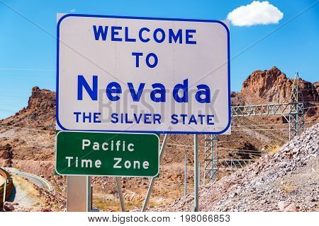 Welcome to Nevada sign on the border of Nevada and Arizona near Hoover Dam