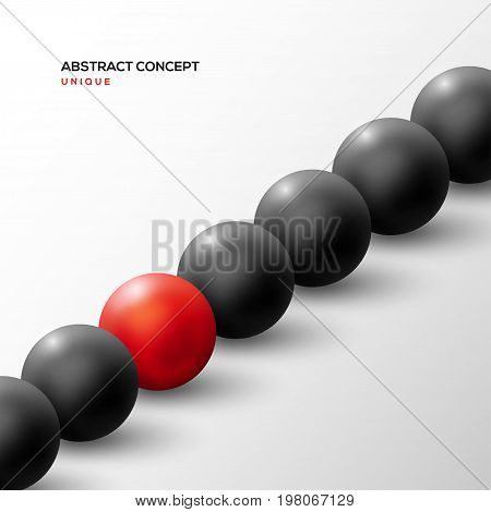 Unique red ball among black ones in diagonal row. Abstract leadership concept. Vector illustration. Business teamwork and success background