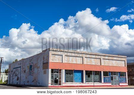 SELIGMAN AZ - SEPTEMBER 16: Old abandoned building on Route 66 in Seligman AZ on September 16 2015