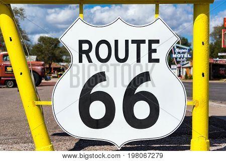 SELIGMAN AZ - SEPTEMBER 16: Route 66 sign in Seligman AZ on September 16 2015