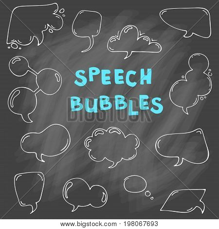 Set of blank empty cartoon vector speech and thought communication bubbles. Isolated. outline. hand drawn.  doodle sketch. On chalk background