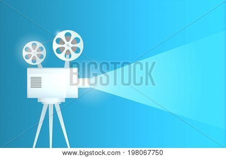 old movie projector. Vector illustration. Banner for the cinema