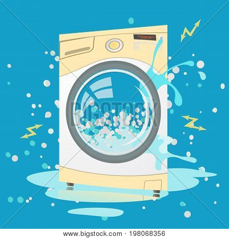Broken Washing Machine In Cartoon Style. Bubbles,sparks