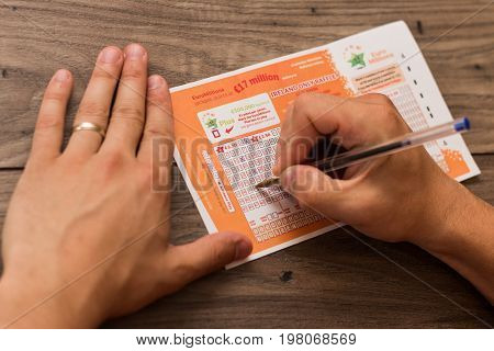 August 2nd, 2017, Cork, Ireland - close up of someone filling out a Euro Millions ticket