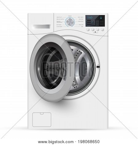 Realistic White Front Loading Washing Machine On A White Backgro