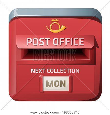 3D illustration of mailbox. iOS style design.