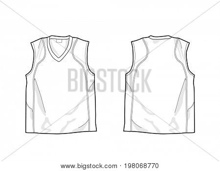 White sleeveless shirt template, front and back. Drawing for labels.