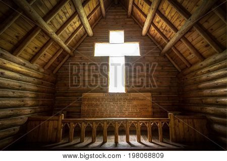Roscommon, Michigan, USA - July 20, 2017: The interior of the Chapel Of The Pines. The Chapel was funded by an anonymous donation and the small church is located in Hartwick Pines State Park.