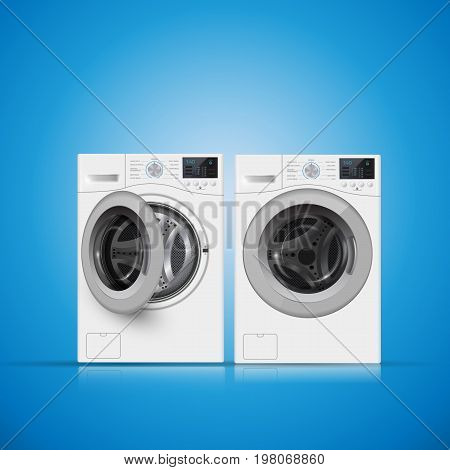 Vector Illustration Of  Two   Washers On Blue Background. Front