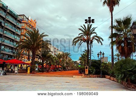 LLORET DE MAR, SPAIN - OCTOBER 06, 2013: The view of passege promenade street from the City Hall in Lloret de Mar, Costa Brava, Catalonia, Spain
