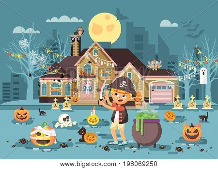 Stock vector illustration banner brochure cartoon character child Trick-or-Treat, boy costume fancy dresses warrior robber pirate with sword celebrate holiday party Happy Halloween pumpkins flat style