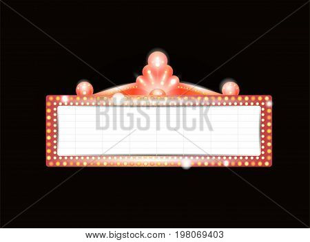 Brightly theater glowing retro cinema neon sign. Old Cinema banner. Vector illustration.
