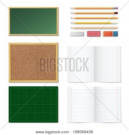 Set Of Realistic 3D Wooden Colored Pencils, Erasers, Blank Chalk Green Board, Brown Cork Board In A