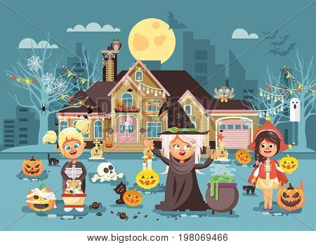 Stock vector illustration cartoon characters children Trick-or-Treat, girls costumes, fancy dresses skeleton, witch, Little Red Riding Hood celebrate holiday party Happy Halloween, pumpkins flat style
