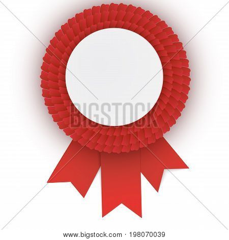 Colorful  Red Rosette With Empty Paper Plate
