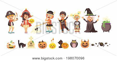 Stock vector illustration isolated cartoon children Trick-or-Treat boy, girl, costumes fancy dresses holiday party Happy Halloween, pumpkins, bats flat style white background brochure, flyer, leaflet