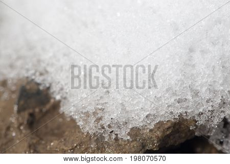 snow on the ground. close-up . A photo