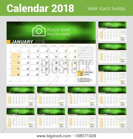 Calendar for 2018 year. Vector design template with place for photo. Week starts on Sunday. Calendar grid with week numbers and place for notes