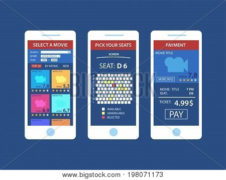 Online purchase of movie tickets. Concepts online cinema ticket order smartphone touching buy app, isolated vector flat icon illustration