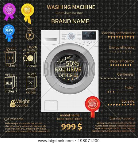 Vector Illustration Of Washer. Infographic Temlate.