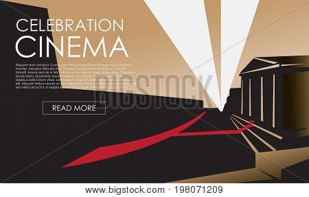 Banner for the film premiere festival. Illustration of theatre marquee. Theater building