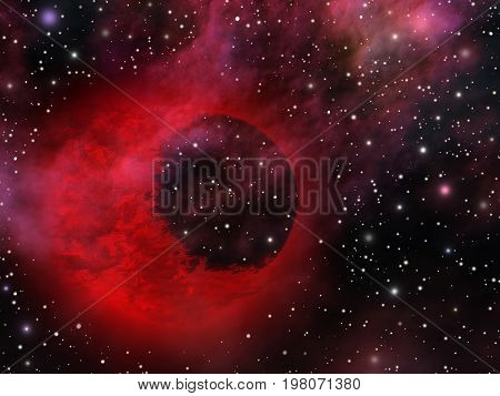 Mystic universe with weird mysterious red planet