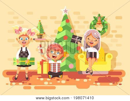 Stock vector illustration cartoon characters children, boys and girls in room under Christmas tree, happy New Year and Christmas, give gifts, rejoice and celebrate flat style element for motion design