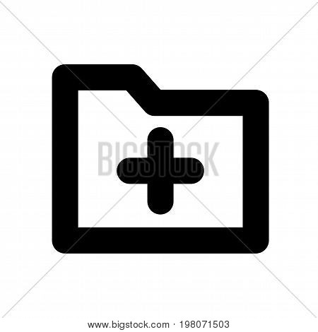 Add folder black icon. Vector symbol for folder adding