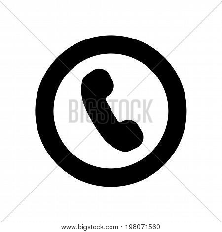 Black vector lined icon for website or application design. Black phone symbol