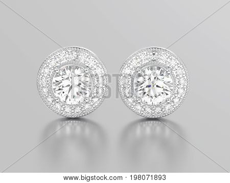 3D illustration two white gold or silver diamonds earrings with reflection on a grey background