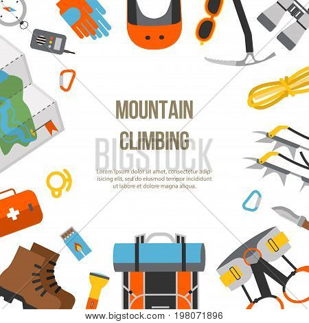 Banner flat design of modern of climbing and equipment for hiking isolated. Outfit for mountaineering and items for traveling and recreation. For web sites, applications and printing, vector