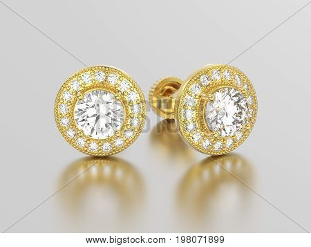 3D illustration two yellow gold diamonds earrings with reflection on a grey background