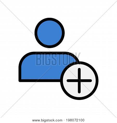 Add user flat icon. Vector symbol for people adding