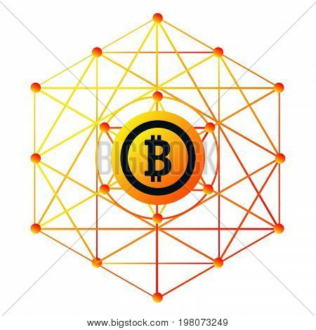 The Bitcoin sign for web design and acceptance plates and forms. Trendy styled sign.