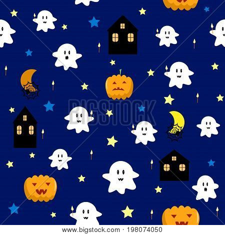 Pumpkin ghost seamless pattern vector magic, character, mystery, monster, candle