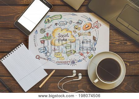 Social media and Social Network Marketing concept, top view. Working place, modern gadgets, coffee. Toned