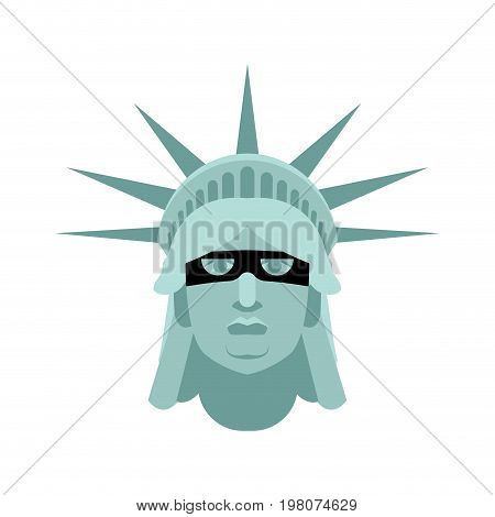 Statue Of Liberty In Mask. Landmark United States. Attractions America