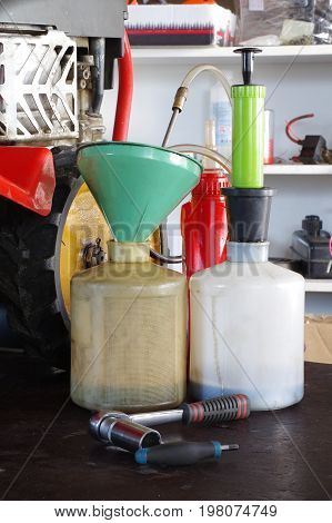 Engine oil change still life group tools
