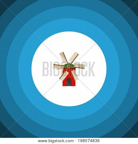 Propeller Vector Element Can Be Used For Windmill, Ecology, Propeller Design Concept.  Isolated Ecology Flat Icon.