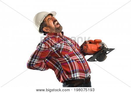 Hispanic worker experiencing back pain isolated over white background