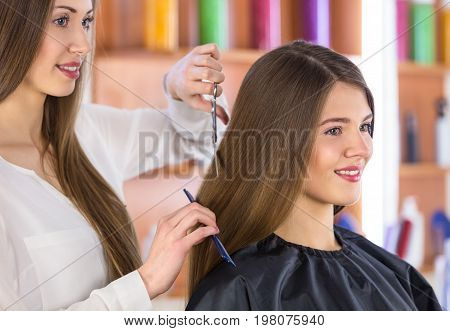 Hair cut woman haircut scissor design beautiful