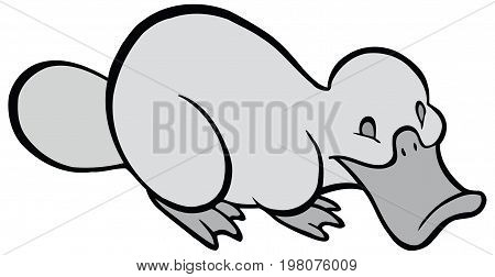 Smiling BW cartoon platypus - You can design cards, part of platypus logo, mascot, corporate character and so on. Lively animal character.
