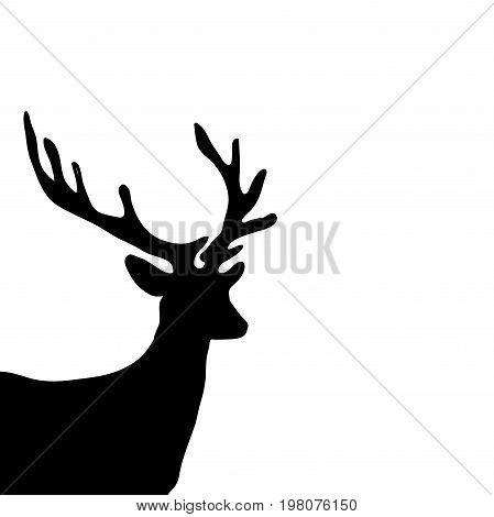 Black silhouette head deer white background. Vector illustration