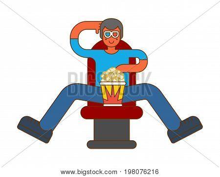 Moviegoer At Cinema With Popcorn. Stereo Glasses. Watch Movie